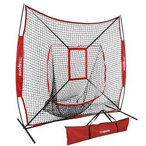 7'x7' Baseball Softball Practice Net Teeball Pitching Training Aid w/Strike Zone