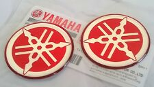 2 x Yamaha 100 Genuine 40mm Tuning fourche Logo Rouge Autocollant Emblème Badge