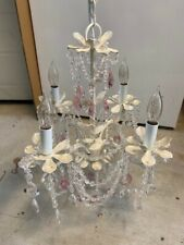 Shabby Chic White & Pink Crystal Chandelier