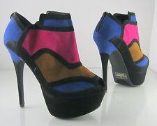 """Black/multi 6"""" High Heel 2"""" Platform Ankle Boots Open Toe women Size 7.5"""