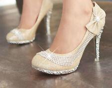 Red / Gold Vogue Flowers Glitter Crystal Stilettos High Heels Wedding Shoes