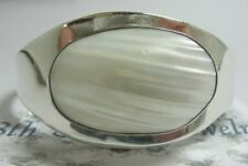 Bold Sterling Silver 925 Ribbed Mop Cuff Bracelet Ati Mexico 42.8Gr