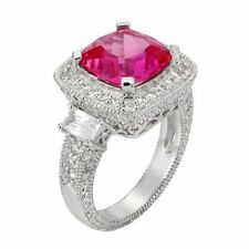 PINK & WHITE SAPPHIRE ENGAGEMENT WEDDING BAND RING SZ 7  SEE STORE FOR ALL GEMS