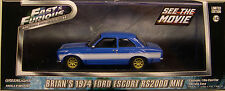 FAST AND FURIOUS BLUE 1974 FORD ESCORT GREENLIGHT 1:43 SCALE DIECAST METAL CAR