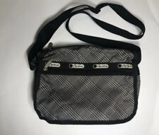 LeSportSac Crossbody Small Travel Bag Black And White Houndstooth Pattern