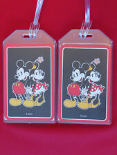 MICKEY MOUSE w/ MINNIE MOUSE LUGGAGE TAGS - SET OF 2 - BAGGAGE NAME ID TRAVEL