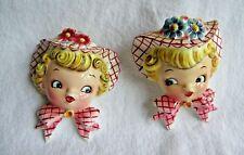 "Pair Vintage Lefton Girls ""Miss Dainty"" Ceramic Wall Pockets"