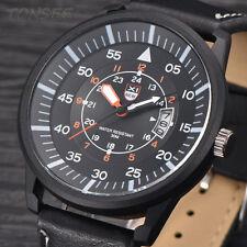 Waterproof Military Leather Belt Men's Quartz Analog Army Quartz Wrist Watches