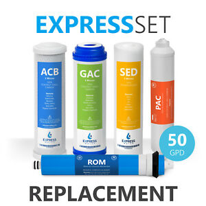 Express Water Reverse Osmosis RO Replacement Filters 50 GPD Membrane 6 Month Set