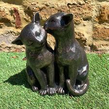 Black Resin Preening Kitten Cats Couple Outdoor Garden Statue Sculpture Ornament