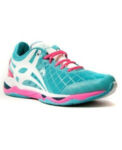 Sale - Gilbert Ladies Womens Synergie - Netball Gym Shoes Trainers - white aqua