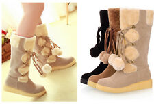 Womens POM POM Flat Wide Lace up Mid Calf Warm Winter Fur Snow Boots UK2-8.5