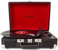 Black Vinyl Turntable Record Player iPod MP3 Vintage Case 3 Speed Music Crosley
