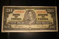 1937 $20 Dollar Bank of Canada Banknote HE6224549
