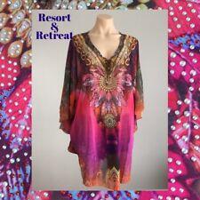 Crystal Embellished Kaftan Size 12-20, Resort Wear, Tropical Print, Pink
