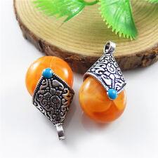 9x Vintage Silver Alloy Orange Drop Shaped Pendants Charms Jewelry Making 52572
