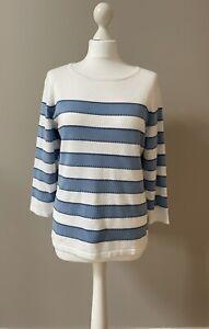 Laura Ashley Sky Blue White Striped Light Fine Knit Jumper Size 14, 3/4 Sleeve