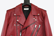 $7K Saint Laurent Red Leather Jacket Double Zip Biker Hedi Slimane Paris 56 54