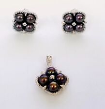 * 585 14K 14KT WHITE GOLD MATCHED SET BLACK CULTURED PEARLS PENDANT AND EARRINGS