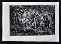 1880 Tour du Monde Antique Print - Elephant Caravan in Laos Jungle - SE Asia