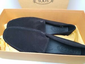 Tods Gommino Black Suede Mens Shoes Size 10