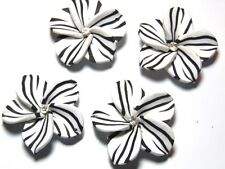 10 Large White Black Crystal Fimo Polymer Clay Flower Rose Beads 40mm or 4cm