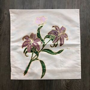 Handcrafted Artist Signed Purple Lilly Butterfly Silky Square Throw Pillowcase