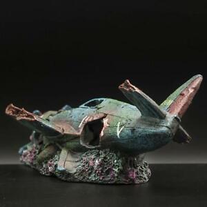 Rusty Plane Craft Artificial Fish Tank Ornament Resin Art Decor Aquarium New
