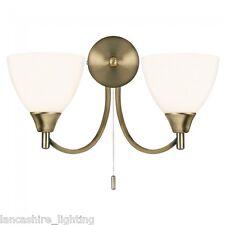 Traditionnel 2 Lumières Laiton Ancien Lampe Murale Avec Opale Verres Ombrés &