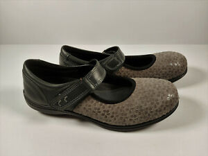 Women's Easy B Mary Janes Comfort Shoes Grey Floral Extra Wide Size 7