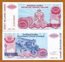 Croatia, Knin 10,000,000,000 (1000000000) Dinara, 1993, P-R28, UNC > Bosnian War