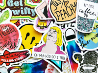 50 Fun Colorful Random Meme Stickers Scrapbooking Journal Skin Lot Decals #CY
