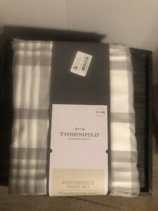 Twin/Twinx/l 400 Thread Count Printed Pattern Performance Sheet Set Grey Plaid