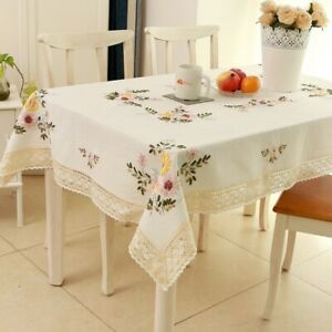 Flower Lace Tablecloth Cotton Embroidery Cabinet Table Cover Home Decor