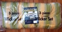 Cushions for Wicker 3 PC set indoor outdoor chair universal Striped Green/Yellow