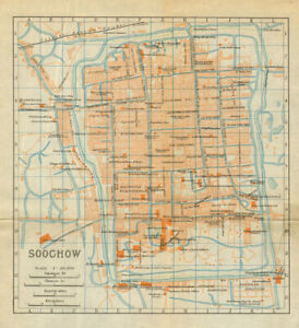 'Soochow'. Suzhou antique town city plan. China 1924 old map chart