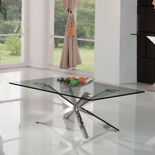 Tavolino vetro Megres 130x70 h.43 sala ingresso soggiorno struttura CROMO