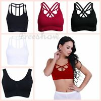 Women Sports Bra Gym Yoga Crop Tops Vest Ladies Strappy Shapewear Padded Bra