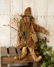 New Primitive Country Fall Rustic Halloween Twig SCARECROW DOLL Black Crow  23""