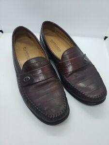 FLORSHEIM Men's 18571 10D Croc Embossed Moc Toe Slip On Dress Loafers Burgundy