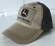 John Deere All Fabric Tan & Gray Hat Cap w Distressed Patch Logo