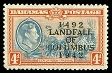 "Bahamas 1942 KGVI 4d light blue & red-orange ""COIUMBUS"" error MLH. SG 168a."