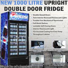 NEW 1000 Litre Commercial Upright 2 Door Drinks Fridge Chiller Beer Refrigerator