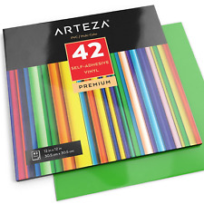 "ARTEZA Self Adhesive Vinyl Sheets, 12""x12"", Assorted Colours, Pack of 42, and to"
