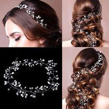 Elegant Bridal Wedding Rhinestone Flower Pearl Hair Band Clip Headband Jewelry