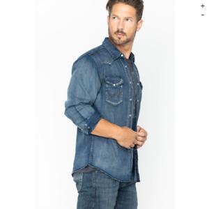 Wrangler Men's Authentic Western Pearl Snap Denim Jean L/S Shirt Size M Blue NWT