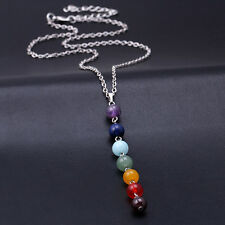 NEW - CHAKRA Bead Pendant Necklace 7 CHAKRA BEAD Women Yoga Reiki Healing UK