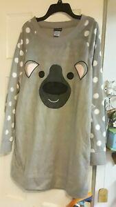 NEW JOE BOXER GRAY Dot Fleece Koala Bear NIGHTGOWN size XL JUNIOR WOMEN NWT $28