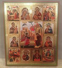 """Russian Wooden Icon """" Annunciation of the Blessed Virgin Mary"""" Golden Embossed"""