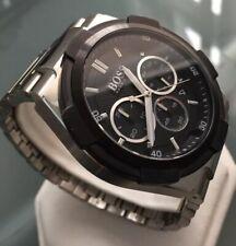 Mens Genuine Hugo Boss Supernova Large Chronograph Watch 1513359 Black Steel